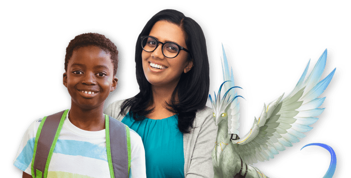 Happy smiling young teacher in glasses with a young happy smiling school boy next to a Classcraft bird pet