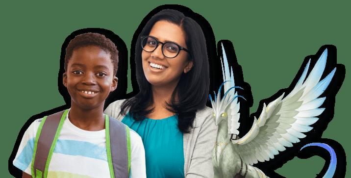 Gelukkige glimlachende jonge leraar met bril samen met een jonge gelukkige glimlachende schooljongen naast een Classcraft-vogelhuisdier