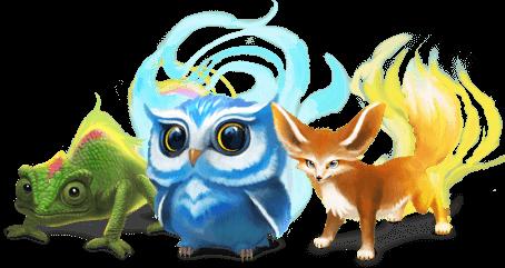 A chameleon an owl and a fox from Classcraft