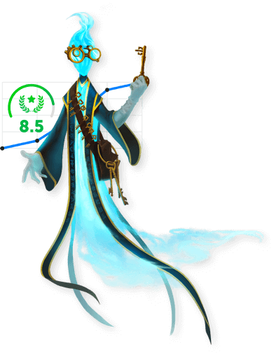 The blue Classcraft gamemaster holding a key with the school climate index in the background
