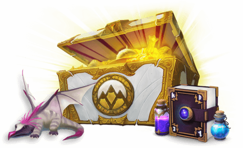 Classcraft loot crate with a glowing treasure inside a book on the right of it and a little dragon on the left