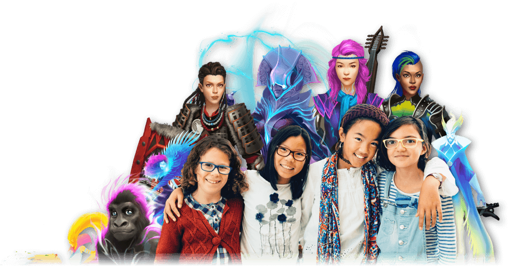 Happy students with their Classcraft avatars and pets