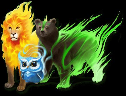A lion a bear and an owl from Classcraft