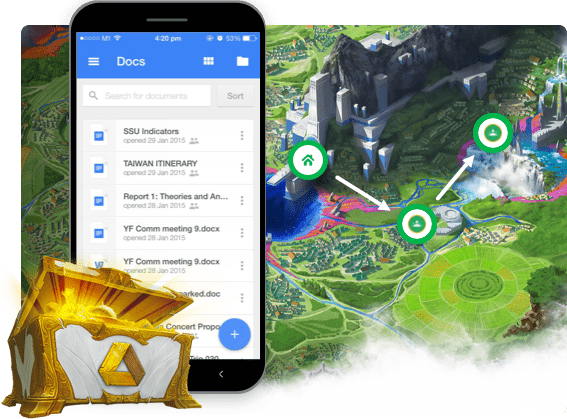 Classcraft lootbox with the Google drive logo on it with Google Docs open a smartphone with a Classcraft Quest map in the back