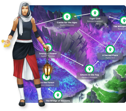 Classcraft Healer, over quest map with the assignment names on it