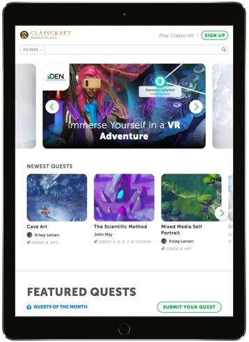 Classcraft quest marketplace webpage on a tablet