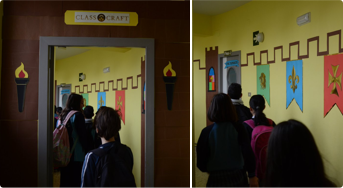 Student entering a classcraft themed classroom
